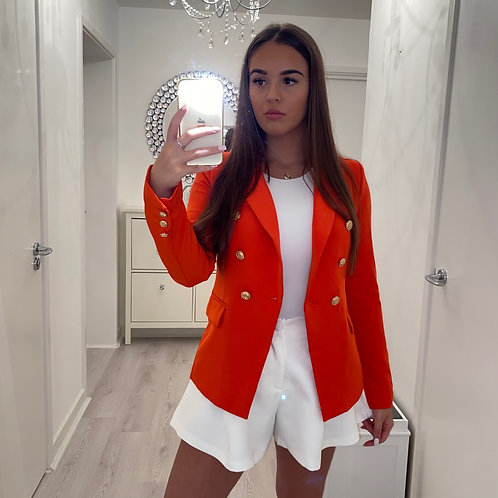 Orange/red gold button blazer