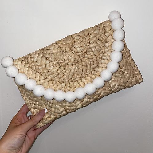 White Pom Pom clutch bag