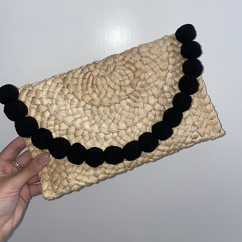 Black Pom Pom clutch bag