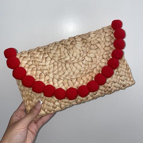 Red Pom Pom clutch bag