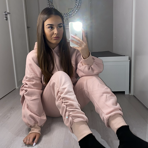 Pink ruched tracksuit