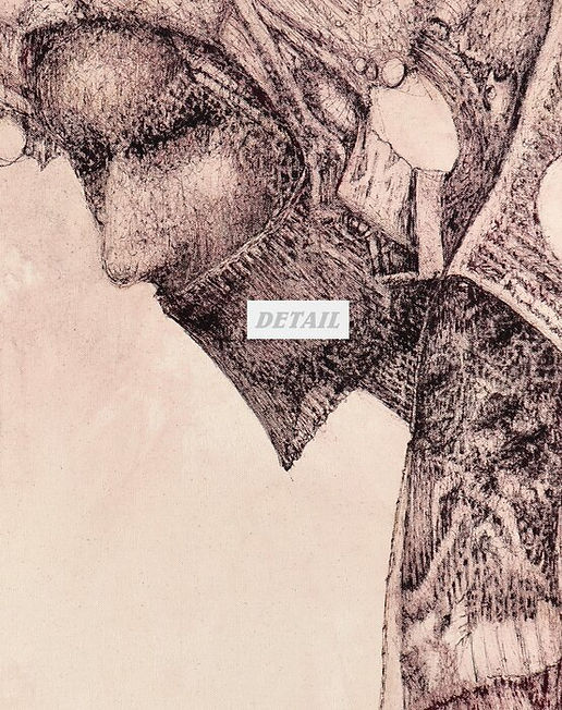 Detail - Whisper Original Fountain Pen Drawing on Canvas by Celio Bordin