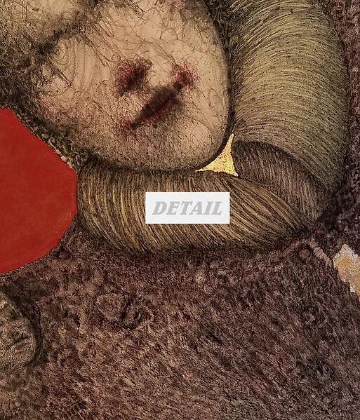 Detail - Miss Raqqii Fountain Pen Drawing on Canvas by Celio Bordin