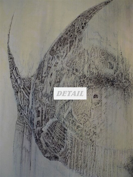Detail - Untitled #1 Original Fountain Pen Drawing on Canvas by Celio Bordin
