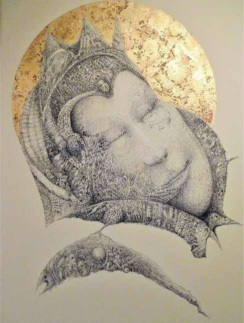 Blessed Rest - Fountain pen artwork drawing with gold and copper leaf by Celio Bordin