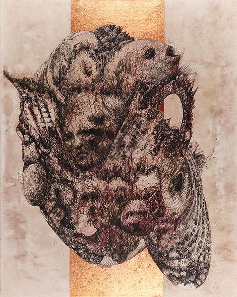 Abstraction Original Fountain Pen Drawing on Canvas by Celio Bordin