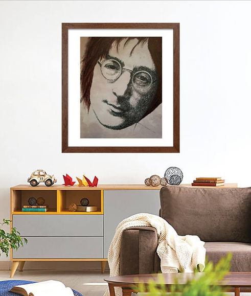 Lennon #2 Original Fountain Pen Drawing on Canvas by Celio Bordin