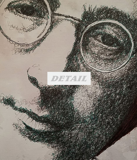 Detail - Lennon #2 Original Fountain Pen Drawing on Canvas by Celio Bordin