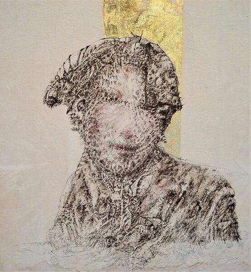 Lady of Water Original Fountain Pen Drawing on Canvas by Celio Bordin