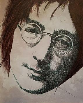 Lennon 16 in x 20 in Fountain Pen Ink on
