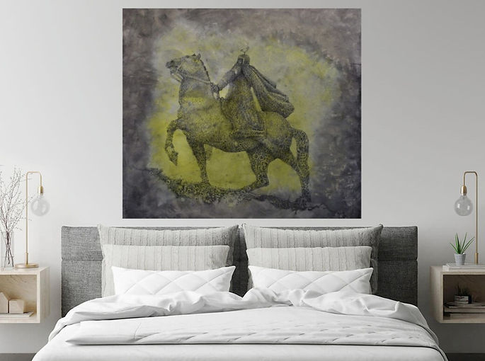 Patron Knight Original Fountain Pen Drawing on Canvas by Celio Bordin