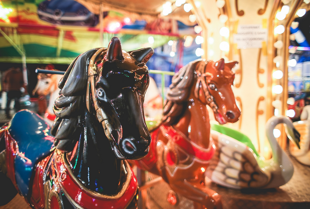 Horses on a carousel ride