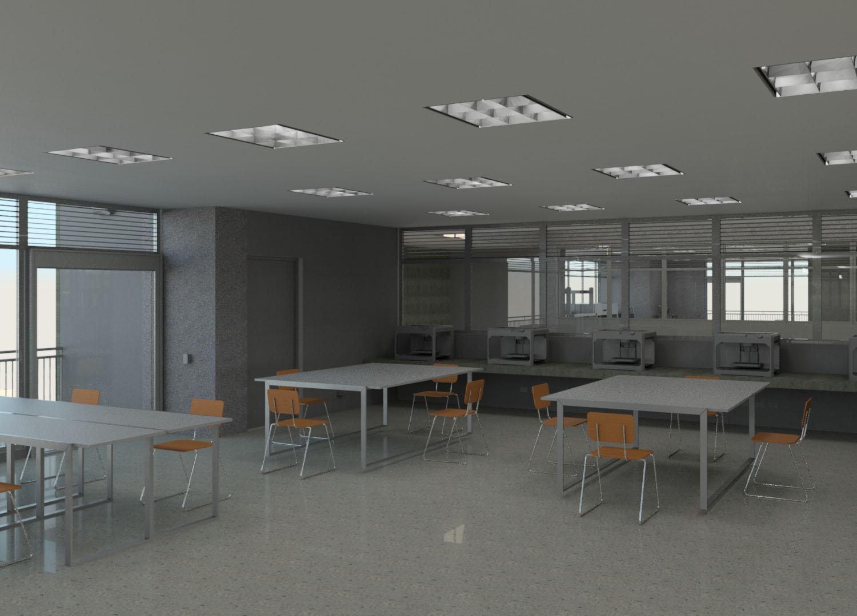 Interior salon impresion 3D segundo nivel