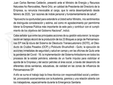 Gerente General de PetroamazonasEP, Juan Carlos Bermeo, presentó su renuncia