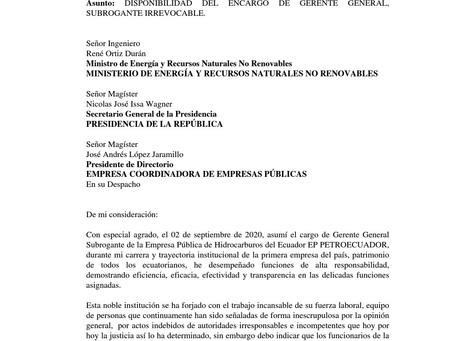 Gerente General subrogante de EP PETROECUADOR renuncia a su cargo