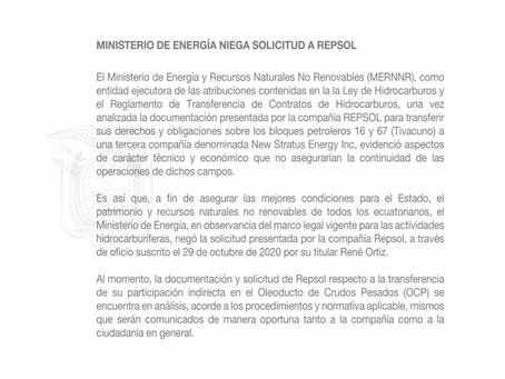 Ministerio de Energía niega solicitud a Repsol
