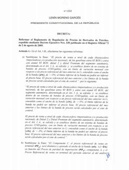 Decreto 1222.- Se reforma el Reglamento de Regulación de Precios de Derivados de Petróleo