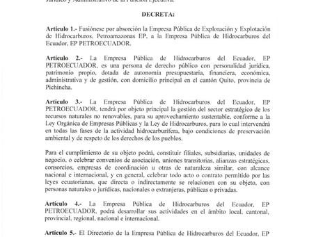 Decreto Ejecutivo N° 1221 permitirá el óptimo funcionamiento de la nueva EP Petroecuador