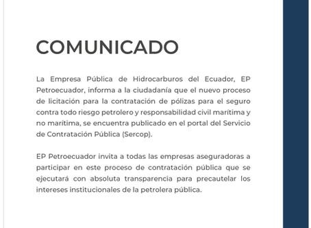 EP PETROECUADOR invita a las empresas aseguradoras a participar en el proceso de licitación