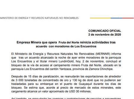 Minera que opera Fruta del Norte reinicia actividades tras acuerdo con moradores de Los Encuentros