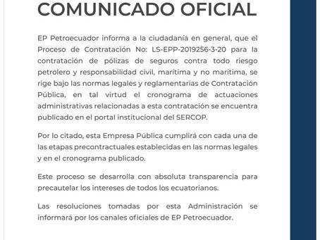 PETROECUADOR informa que el proceso de contratación de pólizas  se encuentra en el SERCOP