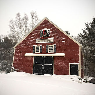 Clay Hill Farm red barn in the winter