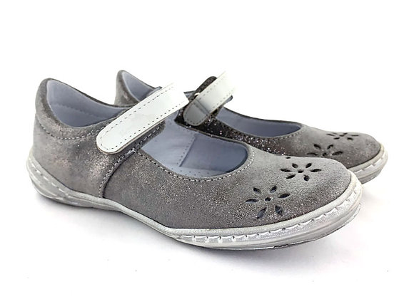 RBG33_4351S_D Silver Glitter Leather Shoes