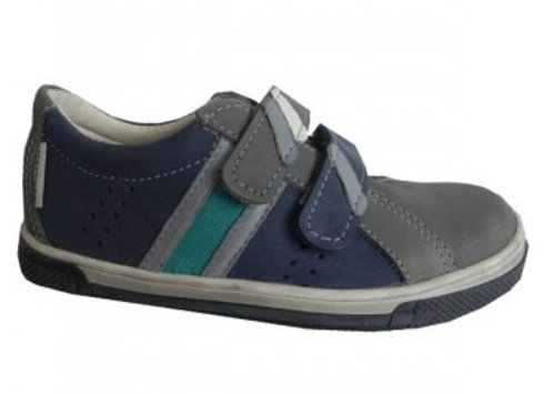 MB235_GRAY_S Gray-Navy Leather Sneakers
