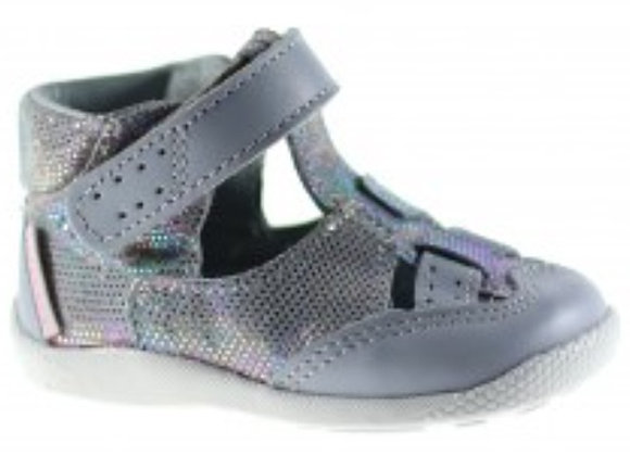 MG187S_CS Gray/Silver Leather Sandals