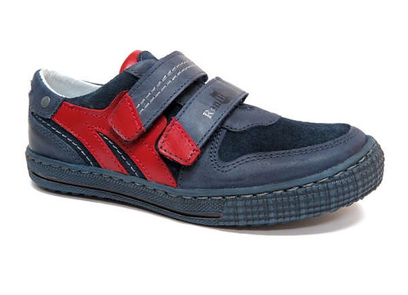RBB33_4325_0120_S Navy-Red Leather Sneakers