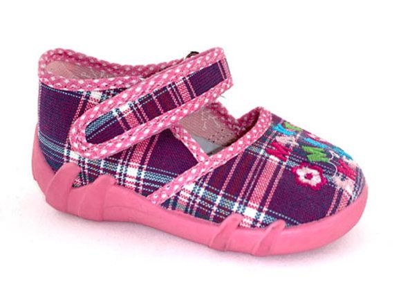 RBG13-105_P Purple Checkered Canvas Shoes
