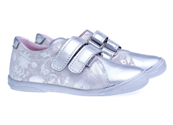 MG_1267_S Silver Flower Leather Sneakers