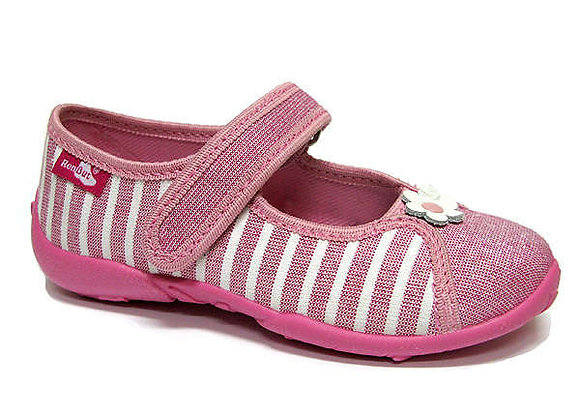 RBG33_424_P0811 Sparkly Striped Pink Canvas Shoes