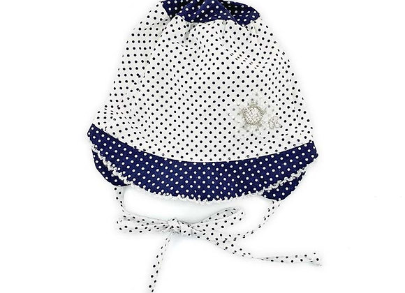 MGH4_S White-Navy Polka Dot Hat