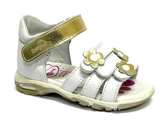 RBG11_283W_OS White/Gold Leather Sandals
