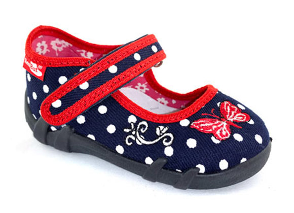 RBG13_139ND Navy Polka Dot Canvas Shoes