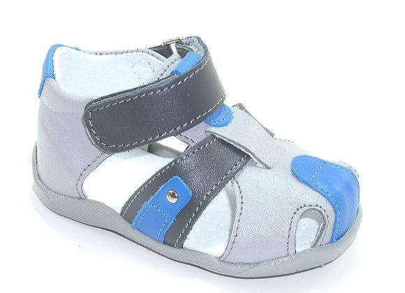 KB3143_CS Gray Leather Sandals