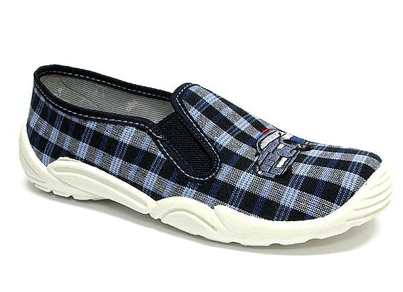 RBB33_372_0139 Navy Checkered Canvas Shoes
