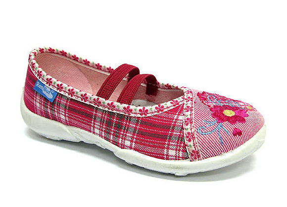 RBG33_419_L0398 Pink Checkered Flower Canvas Shoes
