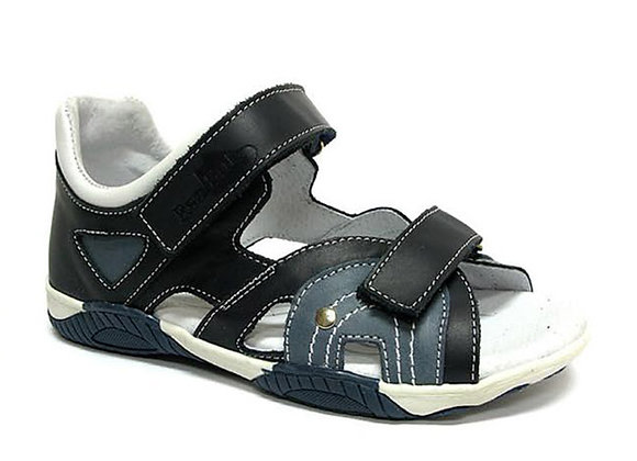RBB31_4282N_OS Navy Leather Sandals