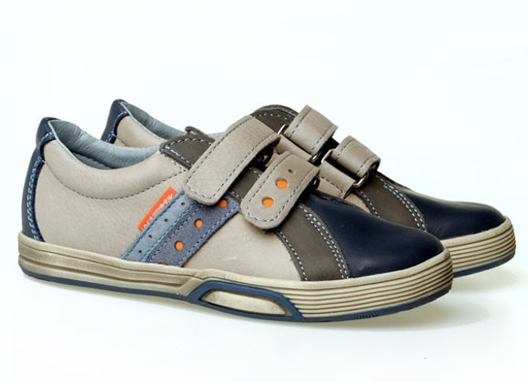 MB1235_6_NAVY_S Gray-Navy Leather Sneakers