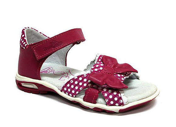 RBG21_3241M_OS Magenta Polka Dot Leather Sandals