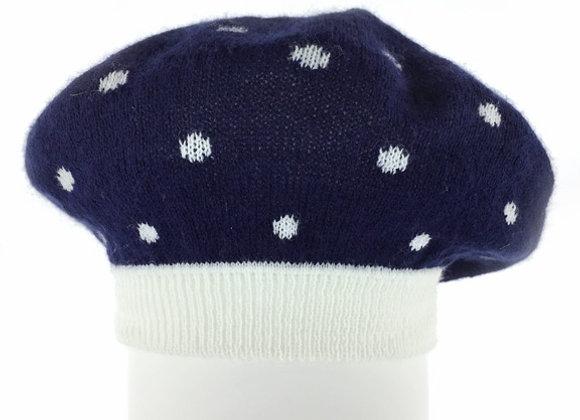 YG_ZAK58_SFH Navy Polka Dot Spring/Fall Hat