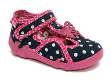 RBG13_145_L0102 Navy Polka Dot Butterfly Canvas Shoes