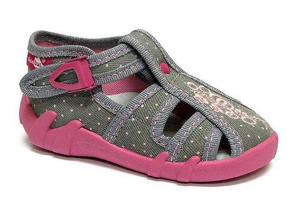RBG13_106LP_0822CT Gray Dot Canvas Sandals