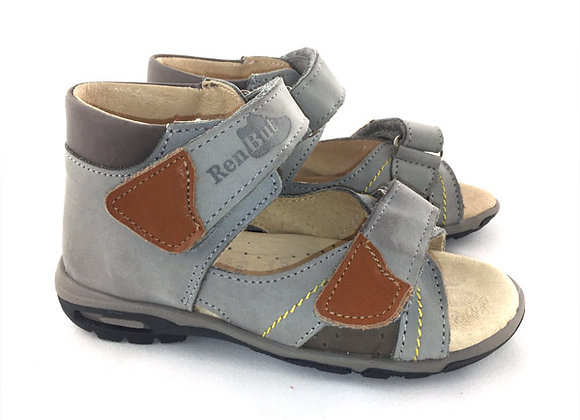 RBB11_097G_OS Gray Leather Sandals