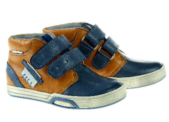 MB1343_HT Navy-Cognac Leather High Tops
