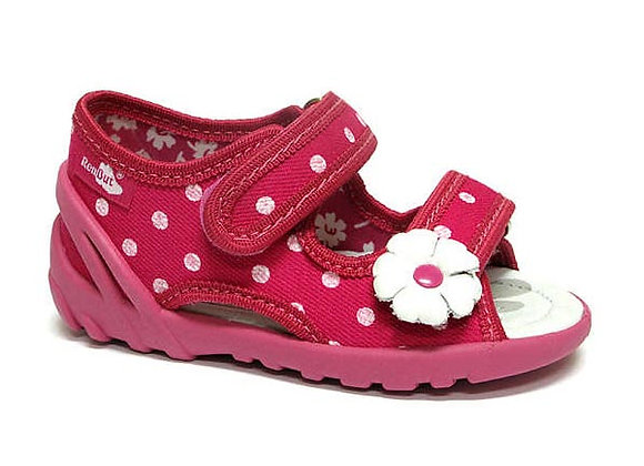 RBG13_112NP_0040_OT Pink Polka Dot Canvas Sandals