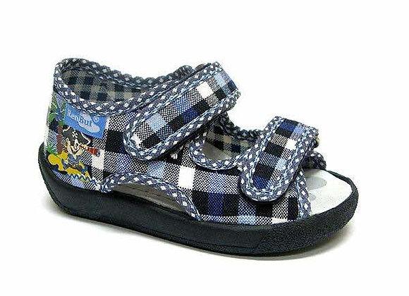 RBB13_112_L_0139OT Blue Checkered Canvas Sandals