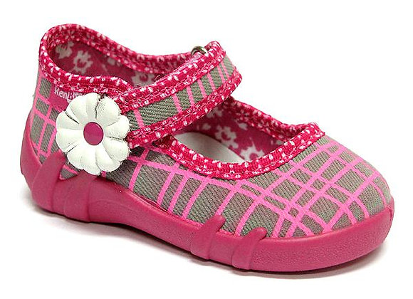 RBG13_139_L0544 Pink/Gray Checkered Canvas Shoes